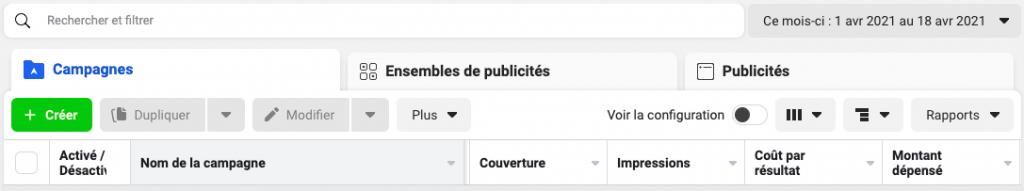 Structure de la publicité Facebook via le Facebook Ads Manager