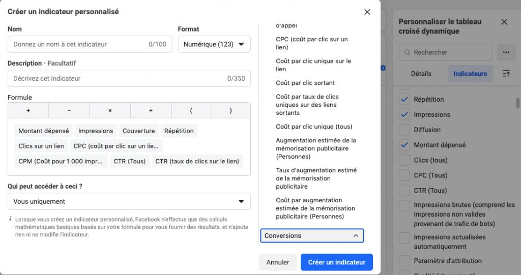 indicateurs publicité facebook