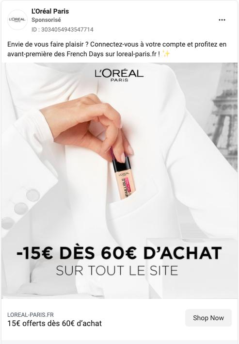 L'Oréal Paris publicité facebook