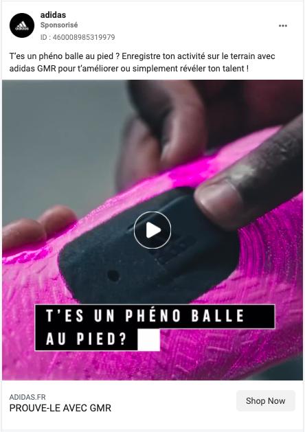 adidas publicité facebook