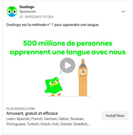 duolingo publicite facebook