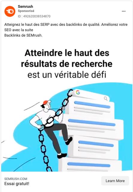 semrush publicité facebook