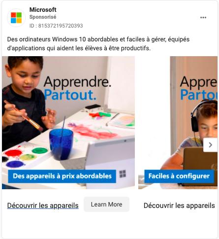microsoft publicité facebook
